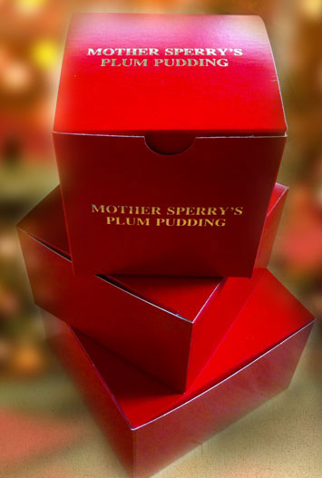 Mother Sperry's plum pudding is available in three prepackaged sizes.